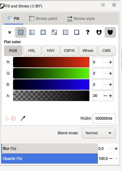 Einstellungen in Inkscape für transparanten Layer